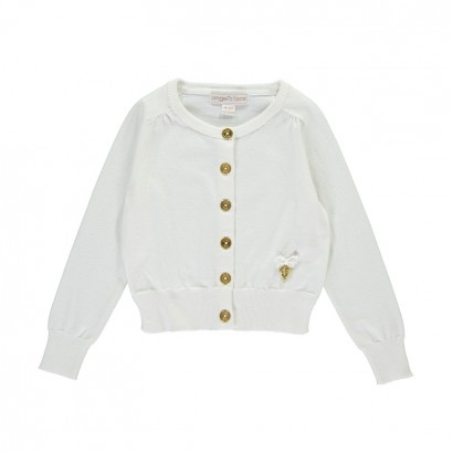 Kids Embedded Stone Wings Cardigan Angel's face