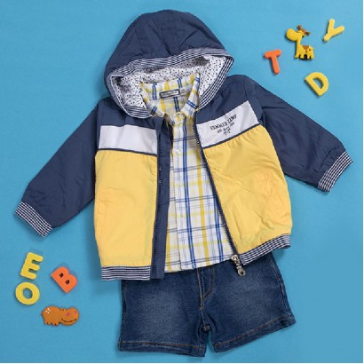 Baby Boys Shirt and Jean Shorts Set Babybol.