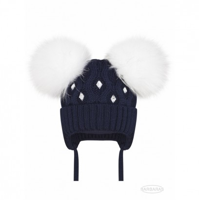 Baby Girls Knitted Hat with Pom pom Racoon Barbaras