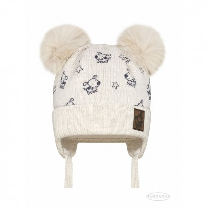 Baby Girls Knitted Hat with Pom pom Raccoon Barbaras