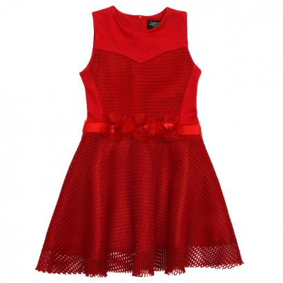 Elegant Mesh Dress for Kids Contrast