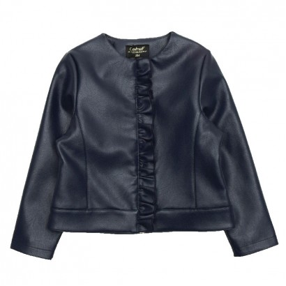 Girls Leather Jacket Contrast