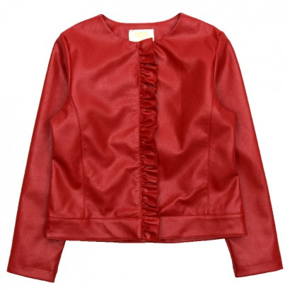 Girls Leather Jacket with Ruffles Contrast