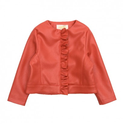 Baby Girls Leather Jacket Contrast