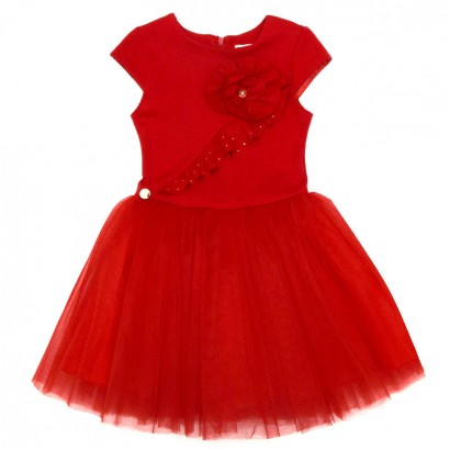 Kids Splicing Tulle Dress Contrast
