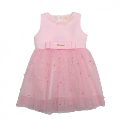 Baby Pearl Detailed Dress Contrast