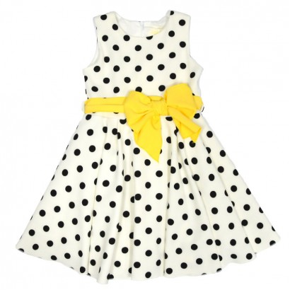 Kids Polka Dot Dress Contrast