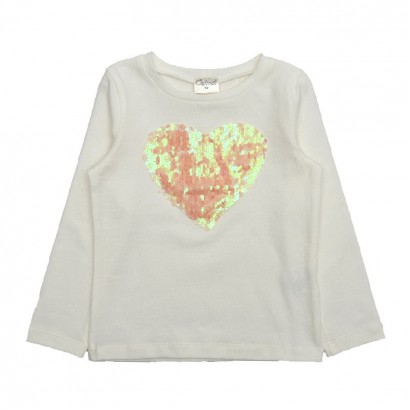Girls Heart Applique T-shirt Contrast