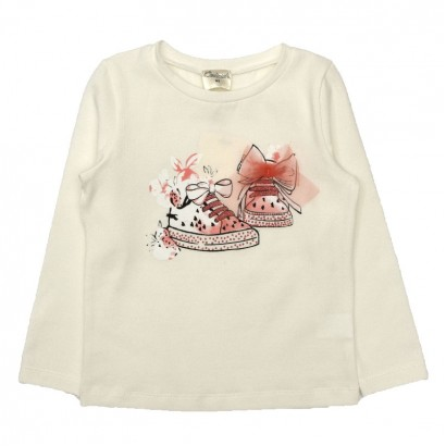 Girls Shoe Print T-shirt Contrast