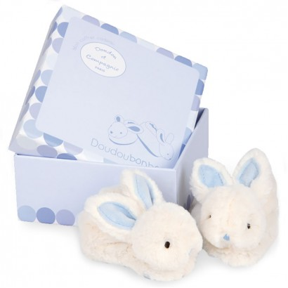 Doudou Baby bunny slippers with a rattle