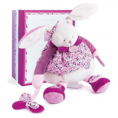 Doudou Baby plush toy rabbit with a rattle