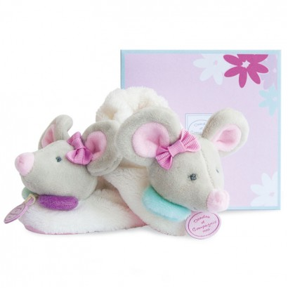Doudou Baby mouse slippers with a rattle