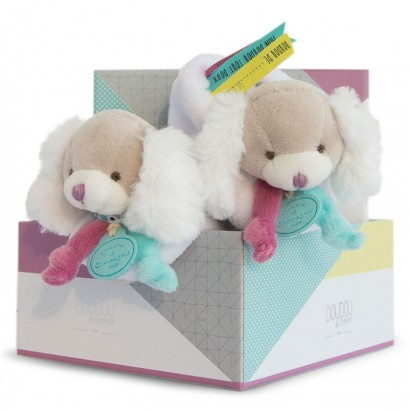 Doudou Baby dog slippers with a rattle