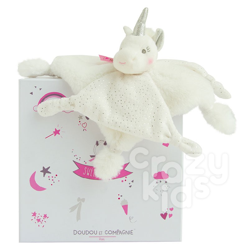 Baby's plush toy Doudou Silver Unicorn