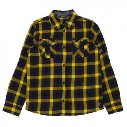 Girls Checked Long Sleeve Shirt Guess