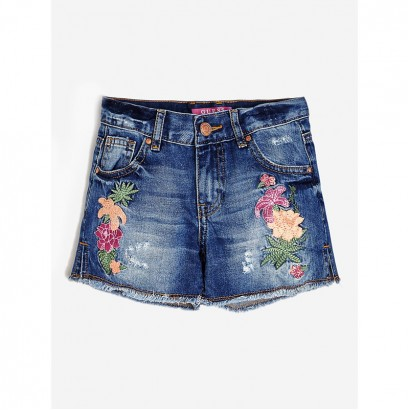 Girls Embroidered Denim Shorts Guess Kids