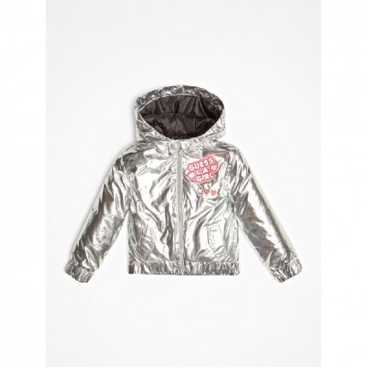 Girls Silver Metallic Jacket Guess Kids