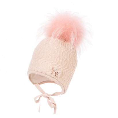 Girls Knitted Hat with Pom pom Racoon Jamiks Asha.