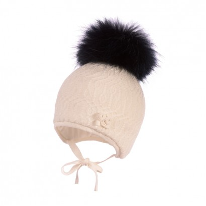 Girls Knitted Hat with Pom pom Racoon Jamiks Asha