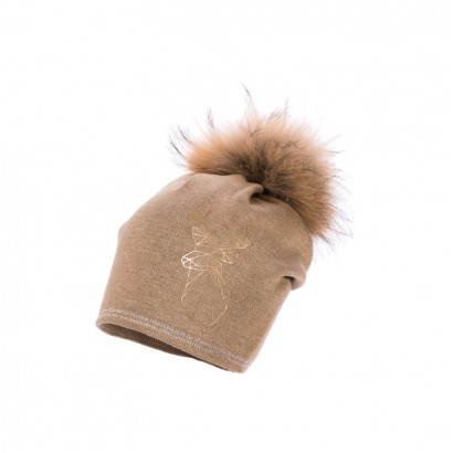 Girls Diorella Knitted Hat with Pom pom Racoon Jamiks