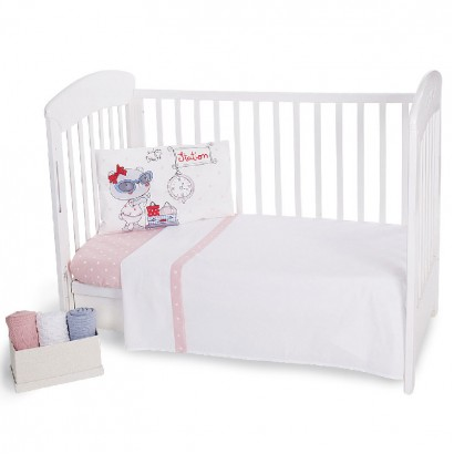 Bedding Set 3-Piece Pink Station 70x140 cm