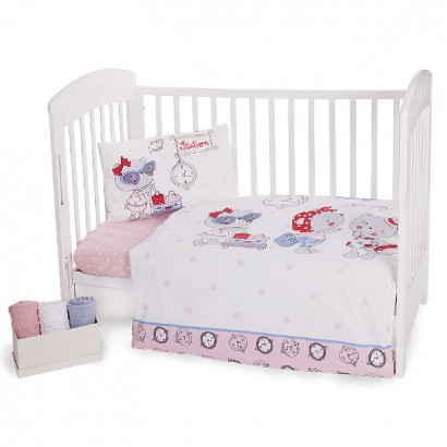 Kikka boo Bedding Set 5-Piece Pink Station