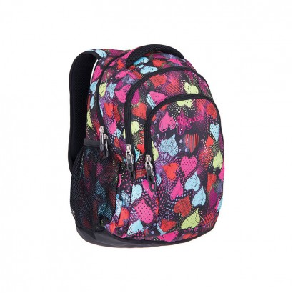 Pulse Girls Backpack Teens Black Hearts