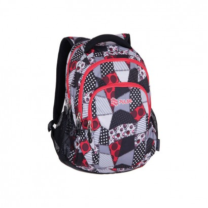 Pulse Girls Backpack Teens Red Patch