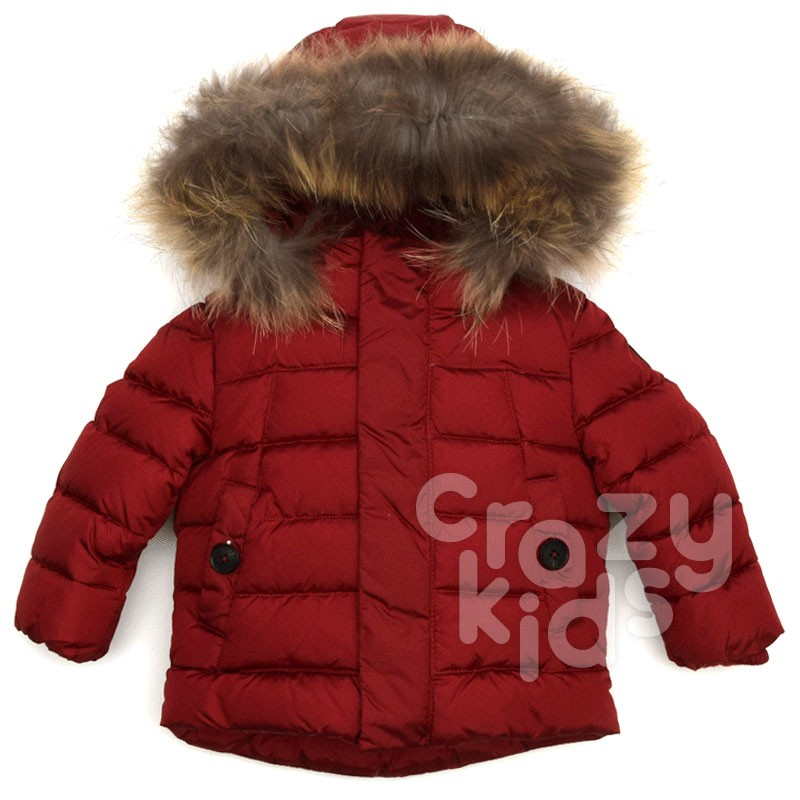 Kids Unisex Jacket with Faux Fur Hood Baby A