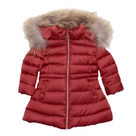 Girls Jacket with Faux Fur Hood Baby A