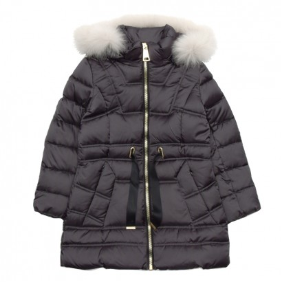 Girls Faux Fur Hooded Long Jacket Treapi