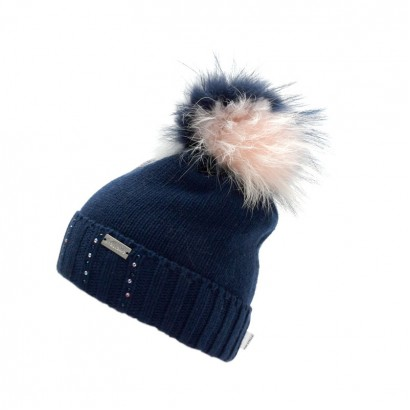 Girls Knit Hat with Pom pom Racoon Trestelle