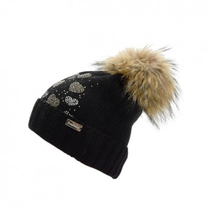 Girls Knitted Hat with Pom pom Racoon Trestelle