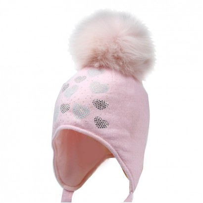 Girls Knit Hat with Fox Pom pom Trestelle