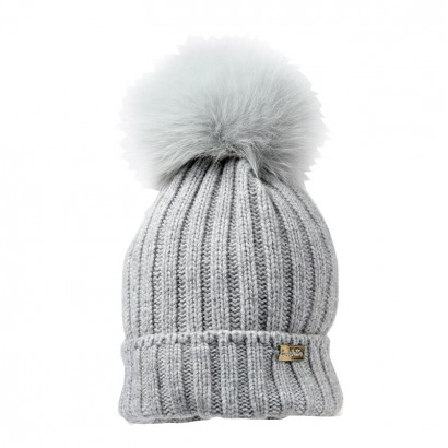 Unisex Kids Beanie Hat with Fox Pompoms Trestelle