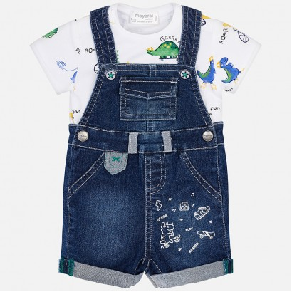 Baby Boys T-shirt and Dungaree Set Mayoral