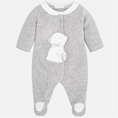 Baby Girl Velour Pyjamas with Applique Mayoral