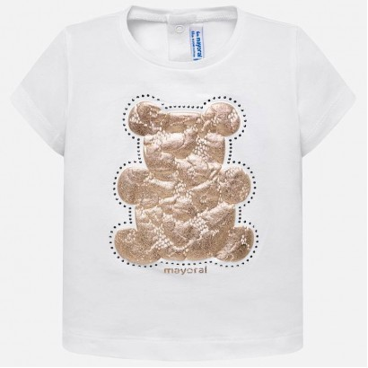 Baby Girl Lace Bear Applique T-shirt Mayoral