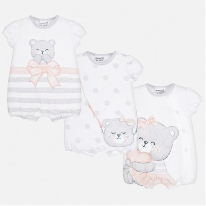 Baby Girl Set of 3 Romper Pajamas Mayoral