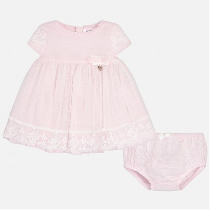 Baby Embroidered Tulle Dress Set Mayoral