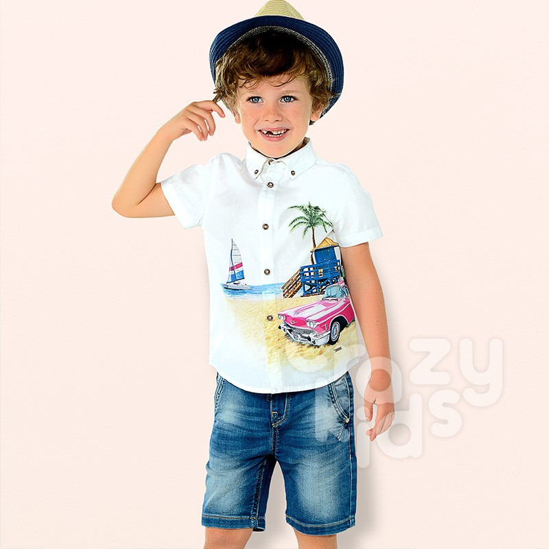 Boys Faded Jeans Bermuda Shorts Mayoral
