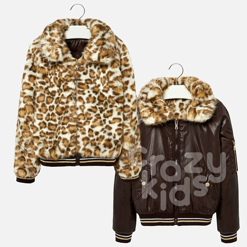 Girls Faux Fur Collar Reversible Coat Mayoral