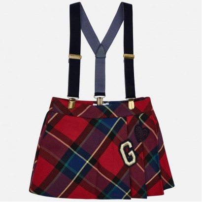 Girls Checkered Skirt with Braces Mayoral