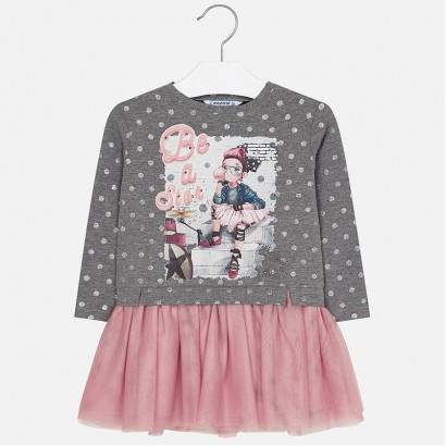 Kid's dress with tulle and print Mayoral