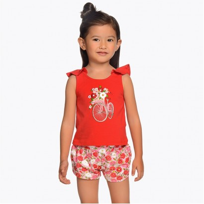 Girls Embroidered Top and Shorts Set Mayoral