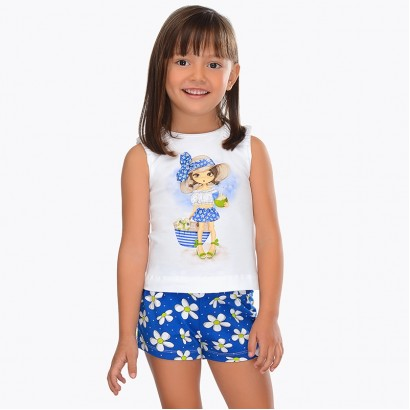 Girls Patterned Tee and Shorts Set Mayoral
