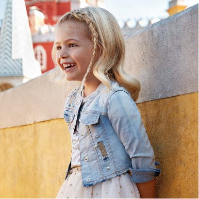 Girls Denim Jacket with Pearls Mayoral