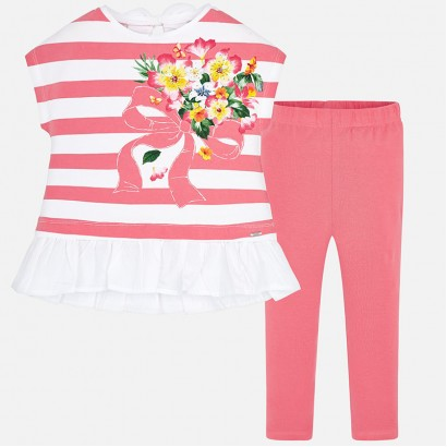 Girls Striped Top and Leggings Set Mayoral