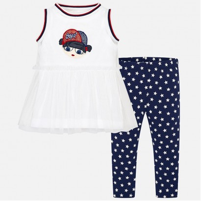 Girls Blouse and Leggings Set Mayoral