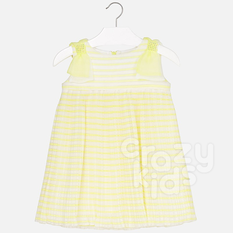 Girls Pleated Dress with Bow Mayoral